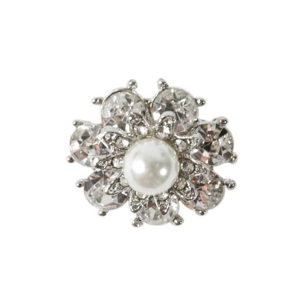 Knapp med Diamanter/Bling og liten perle 20mm